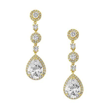 Eternal Chandelier Crystal Wedding Earrings (Gold)