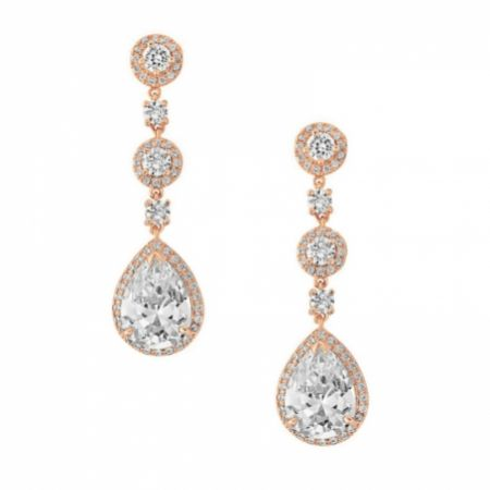 Eternal Chandelier Crystal Wedding Earrings (Rose Gold)