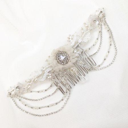 Evelyn Beaded Vintage-Inspired Draped Wedding Headpiece