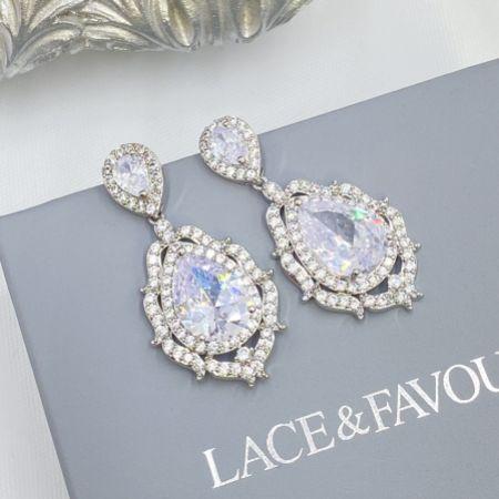 Evita Statement Crystal Chandelier Wedding Earrings