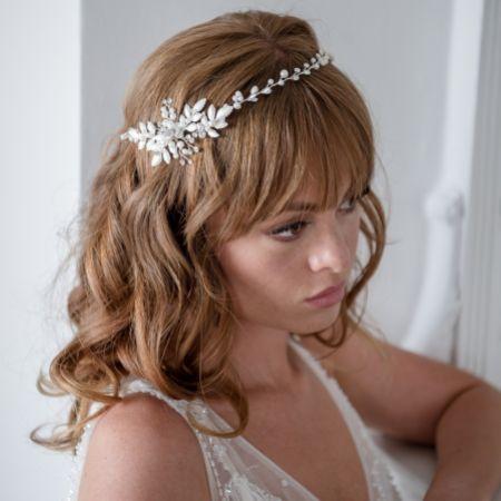 Fleur Delicate Leaves and Pearl Wedding Hair Vine