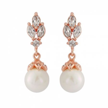 Florence Vintage Crystal and Pearl Drop Earrings (Rose Gold)