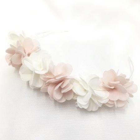 Gabriella Blush and Ivory Flower Crown Hair Band