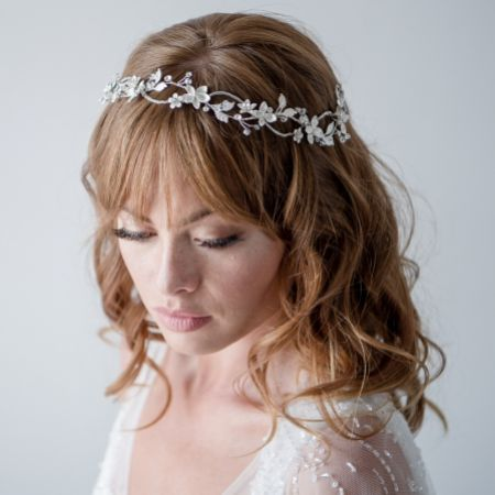 Gardenia Entwined Beaded and Crystal Floral Hair Vine