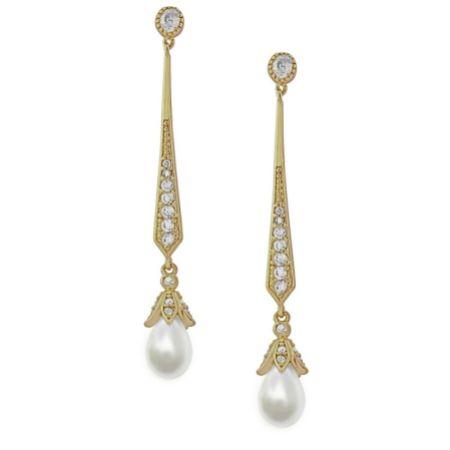 Geneva Long Pearl Drop Wedding Earrings (Gold)