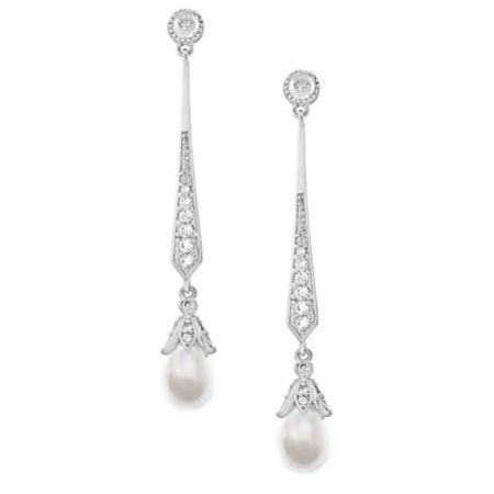 Geneva Long Pearl Drop Wedding Earrings (Silver)