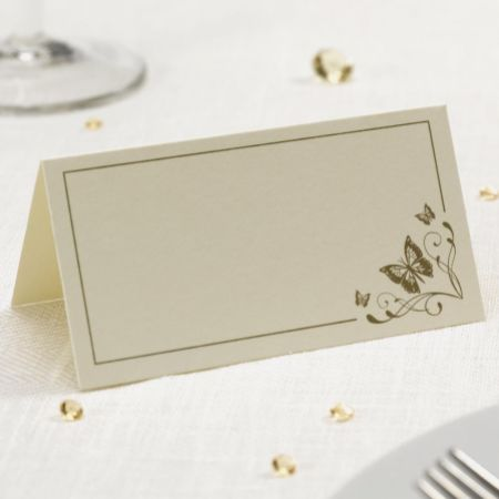 Gold Printed Elegant Butterfly Place Card - Pack of 50
