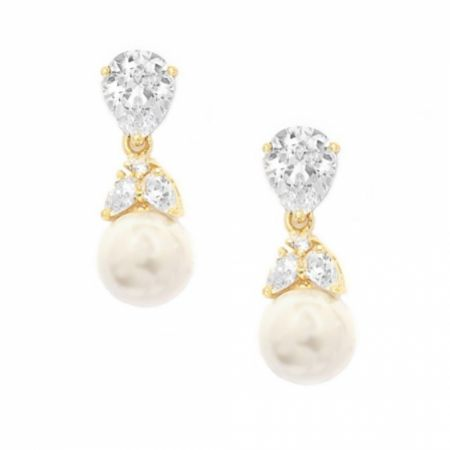 Graceful Crystal and Pearl Wedding Earrings (Gold)