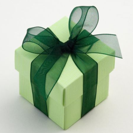 Green Silk Favour Box - Pack of 10