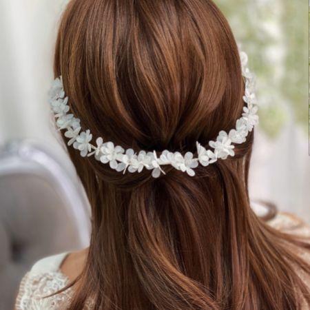 Hailey Long Ivory Flower Wedding Hair Vine