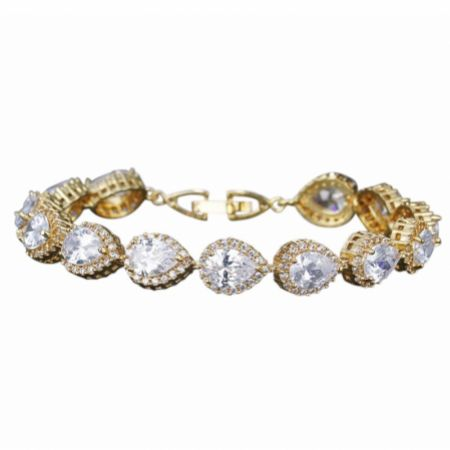 Hampton Teardrop Cubic Zirconia Wedding Bracelet (Gold)