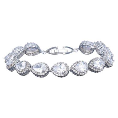 Hampton Teardrop Cubic Zirconia Wedding Bracelet (Silver)