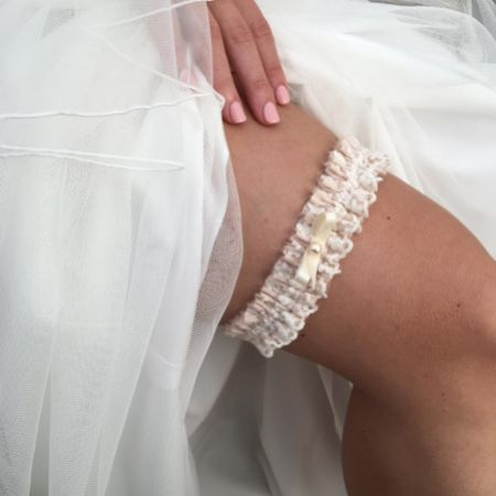 Harmony Blush Silk and Ivory Lace Wedding Garter with Pearl Bow