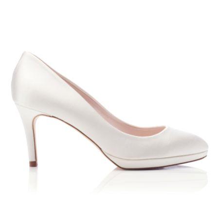 Harriet Wilde Amy Mid Heel Ivory Satin Platform Court Shoes