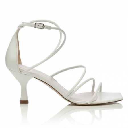 Harriet Wilde Empire Ivory Leather Mid Heel Square Toe Strappy Sandals