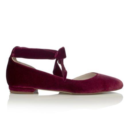 Harriet Wilde Hetty Flat Bordo Velvet Ballet Pumps with Ankle Tie