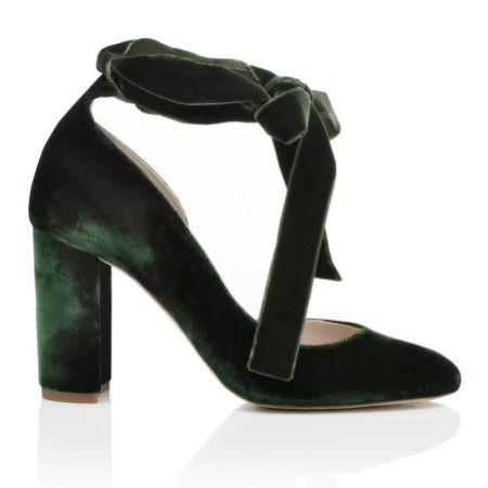 Harriet Wilde Hetty Forest Green Velvet Tie Up Block Heel Court Shoes