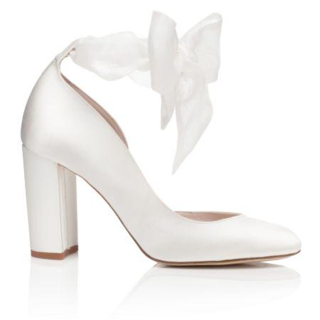 Harriet Wilde Hetty Ivory Organza Tie Up Block Heel Court Shoes