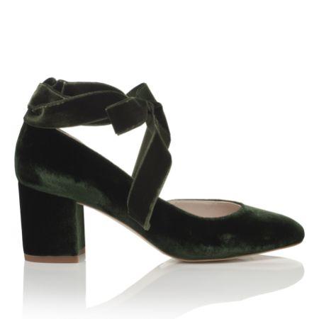 Harriet Wilde Hetty Mid Forest Green Velvet Tie Up Block Heel Court Shoes