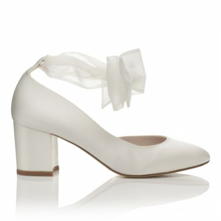 Harriet Wilde Hetty Mid Ivory Satin Tie Up Block Heel Court Shoes