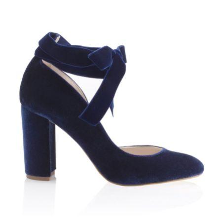 Harriet Wilde Hetty Midnight Velvet Tie Up Block Heel Court Shoes