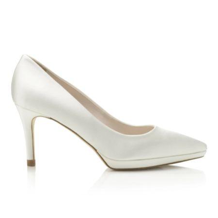 Harriet Wilde Joanie Mid Ivory Satin Platform Court Shoes