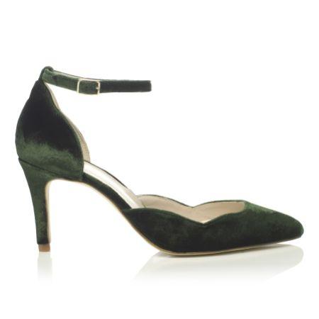 Harriet Wilde Sahara Mid Forest Green Velvet Two Piece Court Shoes