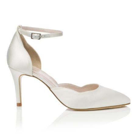 Harriet Wilde Sahara Mid Heel Ivory Satin Two Piece Bridal Court Shoes