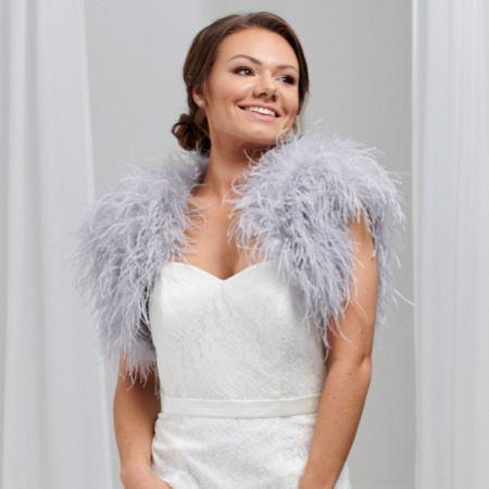Hayworth Silver Grey Ostrich Feather Bridal Bolero