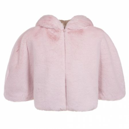 Helen Moore Blossom Pink Faux Fur Short Hooded Bridal Cape