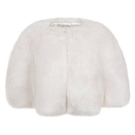 Helen Moore Ivory Faux Fur Short Bridal Cape