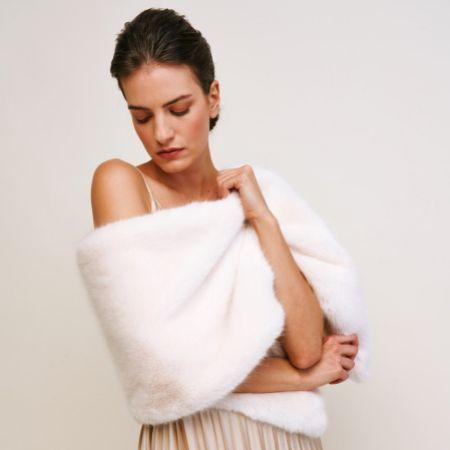 Helen Moore Ivory Long Faux Fur Stole