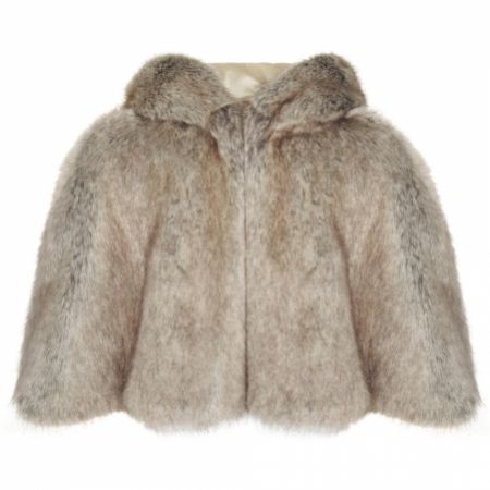 Helen Moore Truffle Faux Fur Short Hooded Bridal Cape
