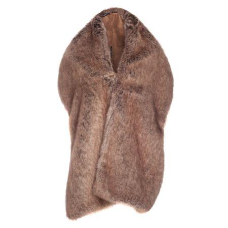 Helen Moore Truffle Long Faux Fur Stole