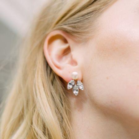 Hermione Harbutt Kensington Crystal Leaves and Pearl Earrings