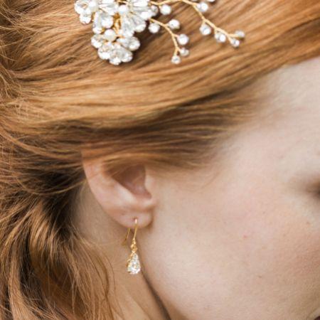 Hermione Harbutt Paris Gold Crystal Teardrop Earrings