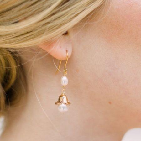 Hermione Harbutt Reign Gold Floral Pearl Drop Earrings