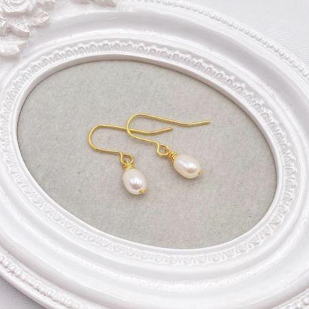 Hermione Harbutt Starlight Gold Pearl Drop Earrings