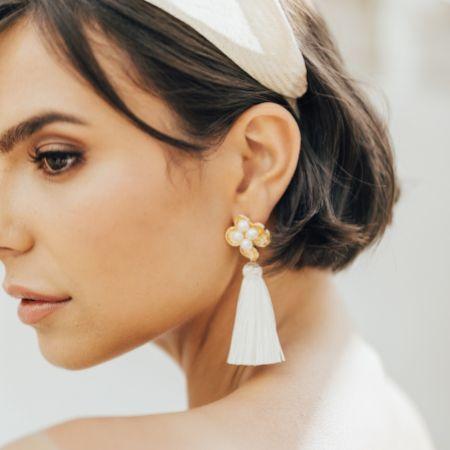Hermione Harbutt Tassel Flower Ivory Statement Earrings