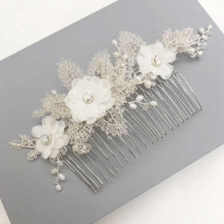 Isabella Opal Crystal Flowers and Silver Lace Leaves Hair Comb