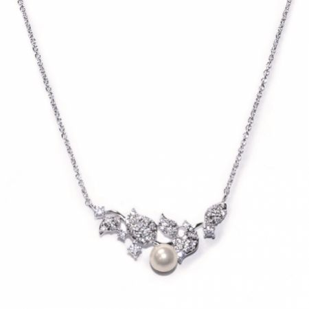 Ivory and Co Aphrodite Crystal Leaves and Pearl Wedding Necklace