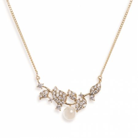 Ivory and Co Aphrodite Crystal Leaves and Pearl Wedding Necklace (Gold)