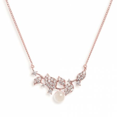 Ivory and Co Aphrodite Crystal Leaves and Pearl Wedding Necklace (Rose Gold)