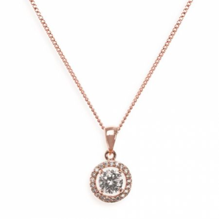 Ivory and Co Balmoral Rose Gold Crystal Pendant Necklace