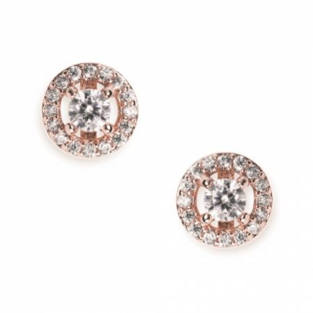 Ivory and Co Balmoral Rose Gold Crystal Stud Earrings