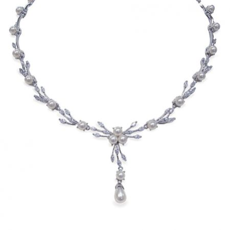 Ivory and Co Belgravia Pearl and Crystal Wedding Necklace
