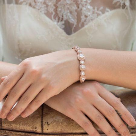Ivory and Co Belize Square Crystal Wedding Bracelet (Rose Gold)