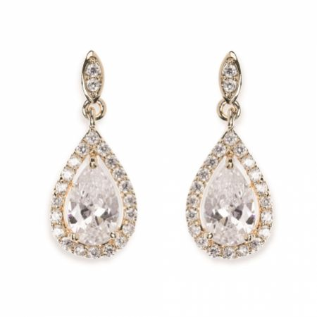 Ivory and Co Belmont Crystal Drop Wedding Earrings (Gold)