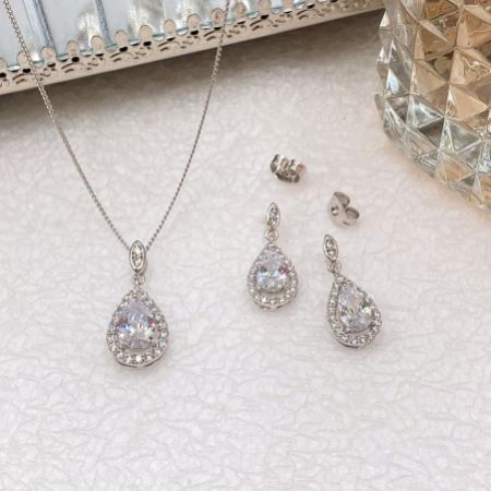 Ivory and Co Belmont Silver Crystal Bridal Jewellery Set
