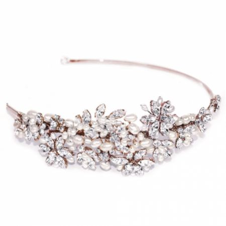 Ivory and Co Charade Rose Gold Crystal Blossom and Pearl Headband